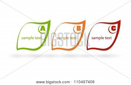 Bright Vector Labels In The Form Of Leaf Green, Orange And Red Flowers On A Striped Background With