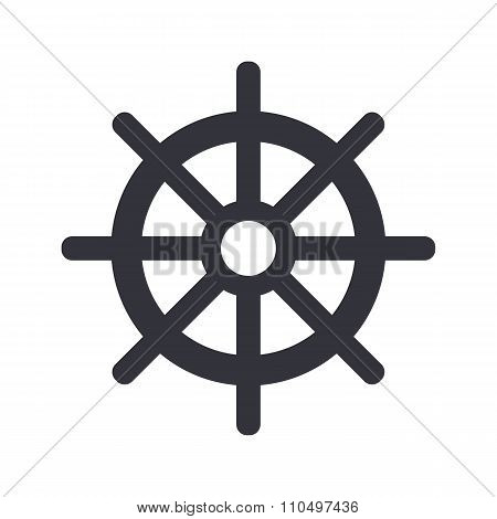 Ship steering wheel icon, minimal flat design style, rudder vector symbol