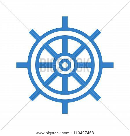 Ship steering wheel icon, modern minimal flat design style, rudder vector symbol