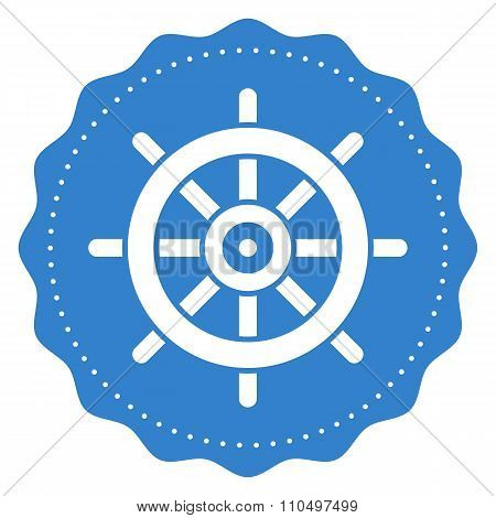 Ship steering wheel icon, modern minimal flat design style, rudder vector symbol