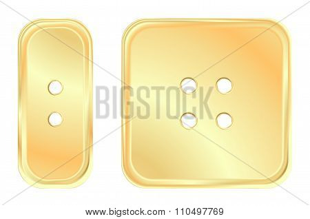 Vector Golden Square And Rectangular Button Sewing