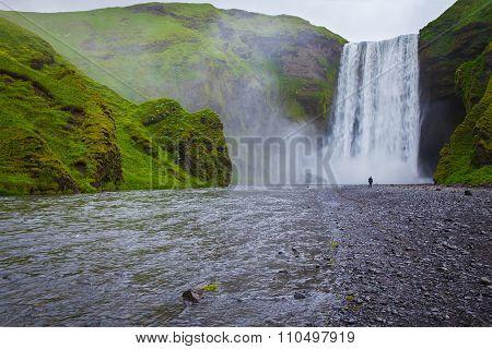 Grand waterfall Skogafoss in Iceland