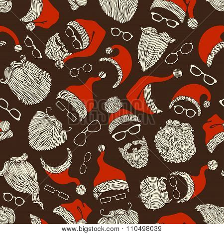 Seamless Pattern Of Santa Hats, Moustache, Beards And Eyeglasses.