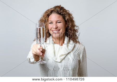 Woman Toasting With A Flute Champagne
