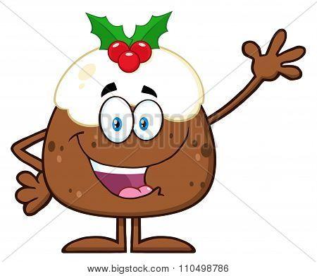 Christmas Pudding Cartoon Character Waving