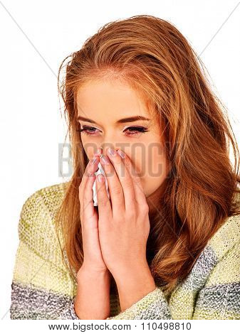Portrait girl with running nose a handkerchief. The reasons may be different. Colds, allergies or depression. Isolated.