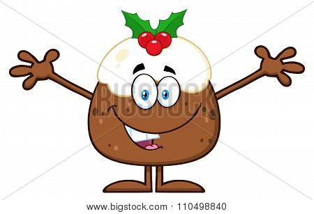 Christmas Pudding Character With Open Arms For Greeting