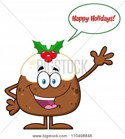 Christmas Pudding Character Waving With Speech Bubble