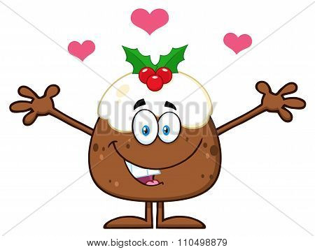 Christmas Pudding With Open Arms And Hearts