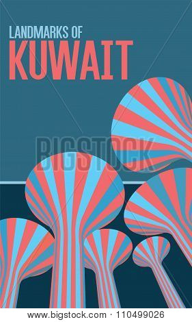 Vintage Style Poster - Landmarks Of Kuwait - Water Towers