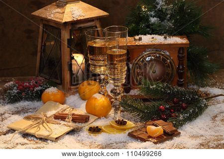 New Year's Still-life With Champagne, Tangerines And Hours