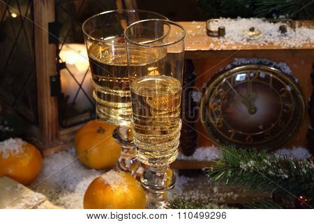 New Year's Still-life With Champagne