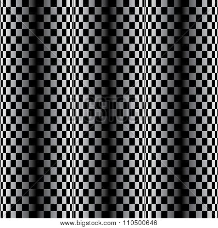 Optical illusion - vertical parallel lines made from small black and white pillows