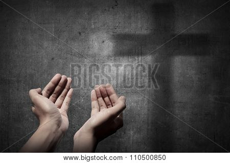 Human Hand Praying To God