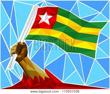 Patriotic Powerful Man Arm Raising The National Flag Of Togo