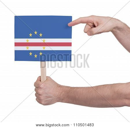 Hand Holding Small Card - Flag Of Cape Verde
