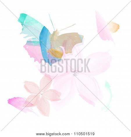 Abstract Butterfly And Flowers - Watercolor Style