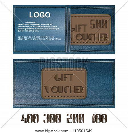 Gift Voucher For Jeans Background Pocket