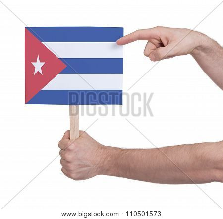 Hand Holding Small Card - Flag Of Cuba