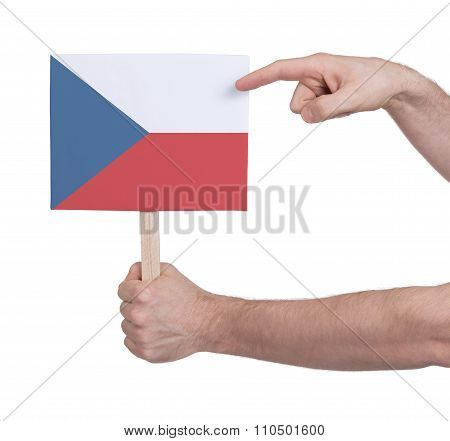Hand Holding Small Card - Flag Of Czech Republic