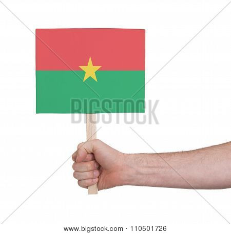 Hand Holding Small Card - Flag Of Burkina Faso