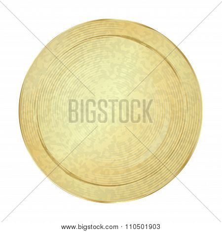 Empty Vector Vintage Template For Coins Or Medals With The Old Antique Golden Metal Texture
