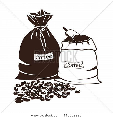 Sacks Of Coffee And Coffee Beans