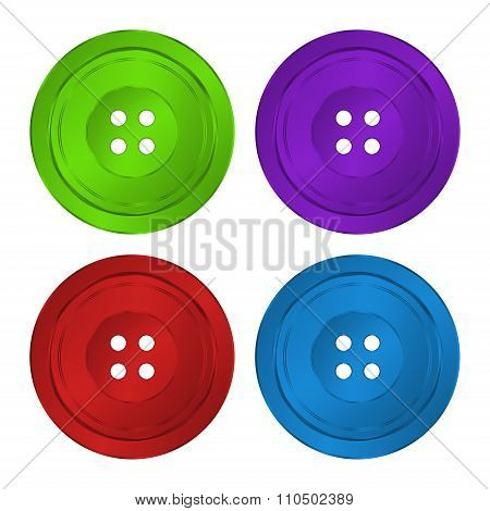 4 Brilliant Iridescent Colored, Plastic Sewing Buttons Vector Of Classic Green, Red, Purple And Blu