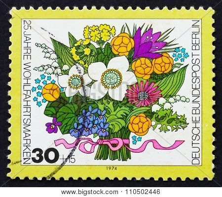Postage Stamp Germany 1974 Spring Bouquet Of Flowers