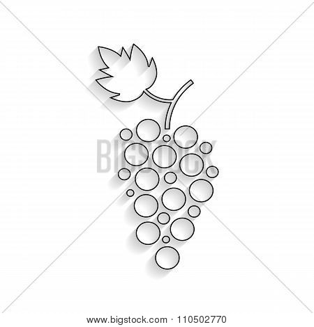 black outline grapes icon with shadow