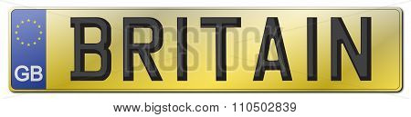 Britain Rear License Plate