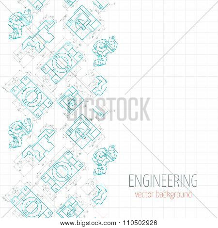 Abstract Poster, Cover, Banner, Background Of Blue Engineering Drawings Of Parts. Vector