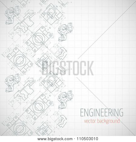Abstract Poster, Cover, Banner, Background With Technical Drawing Of Parts. Notebook Sheet. Vector