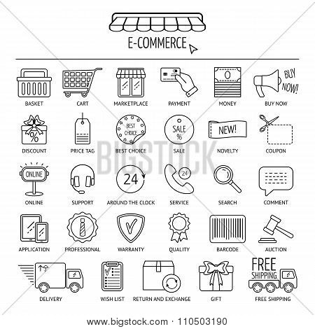 E-commerce Icon Set. Flat Design. Vector
