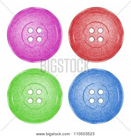 4 Colored, Plastic Sewing Buttons Of Classic Vector Texture With Spotty Green, Red, Purple And Blue