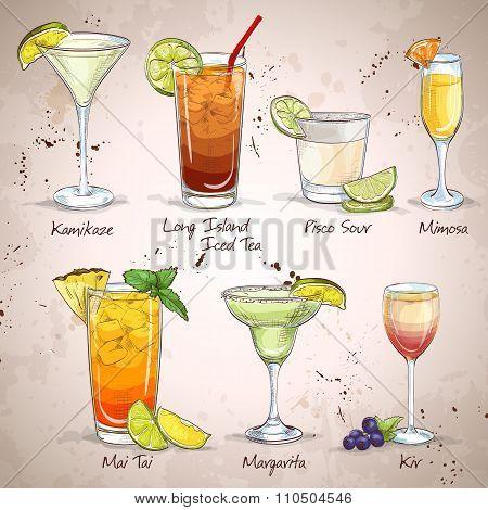 New Era Drinks Cocktail Set, excellent vector illustration, EPS 10