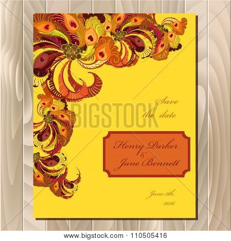 Peacock feathers wedding card. Printable vector background illustration.