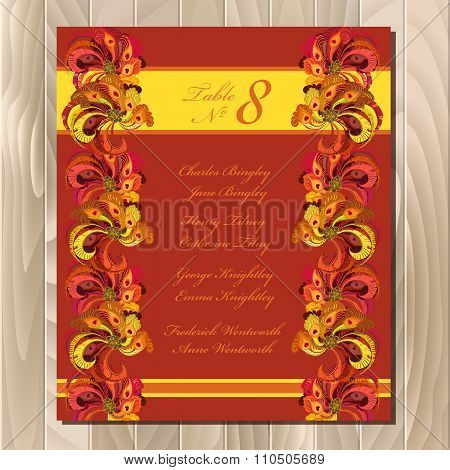 Table guest list. Vector background peacock feathers. Wedding design template.