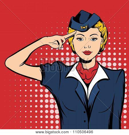 Stewardess comics woman
