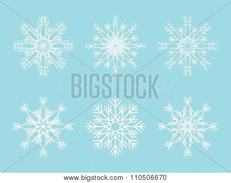 Set of snowflakes, Isolated design element, Vector illustration