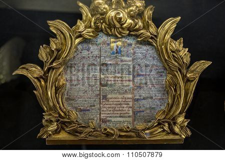 PARIS, FRANCE - SEPTEMBER 8, 2014: Splendid exhibition goods of the treasury of the cathedral Notre-Dame . Paris France