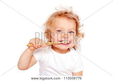 Happy Baby Toddler Brushing Teeth.