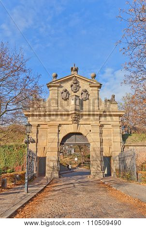 Leopold Gate Of Vysehrad Fort In Prague. Unesco Site