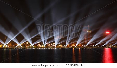 The View On The Daugava Shore In Riga With The Light Show In The