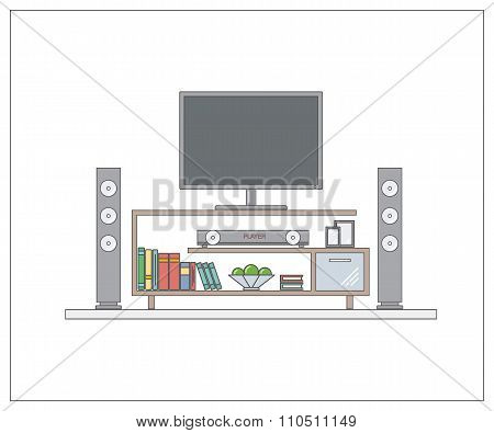 Modern home cinema in living room. One page web design template with thin line. Concept for website