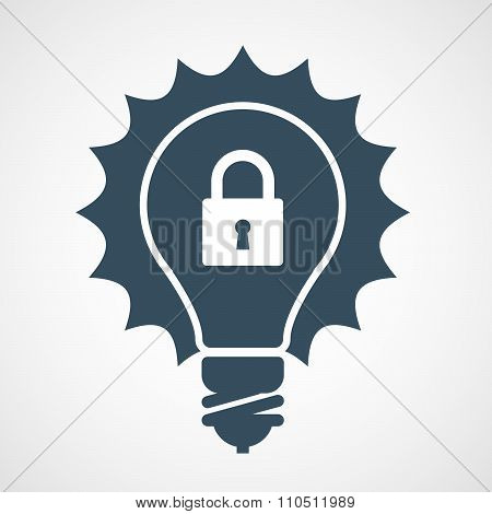Intellectual property icon - light bulb and padlock