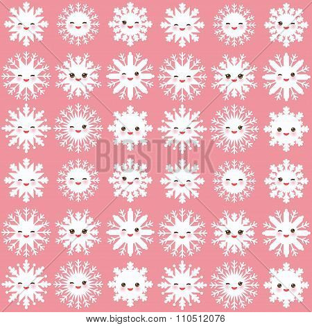 seamless pattern, Kawaii snowflake set white funny face with eyes and pink cheeks on light pink back