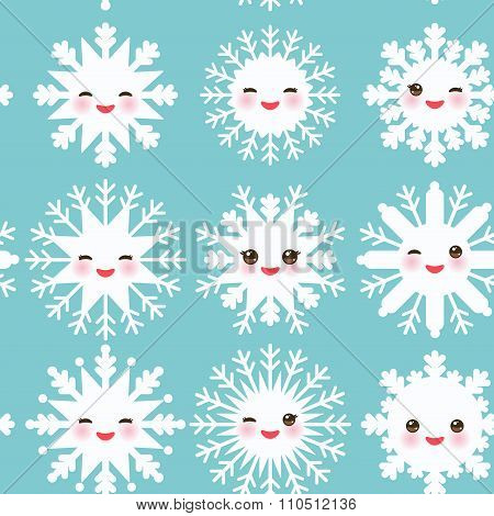 seamless pattern, Kawaii snowflake set white funny face with eyes and pink cheeks on sky light blue