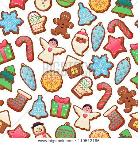 Colorful beautiful Christmas cookies icons pattern.