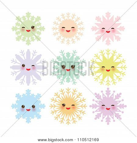 Kawaii snowflake set blue mint orange pink lilac funny face with eyes and pink cheeks on white backg